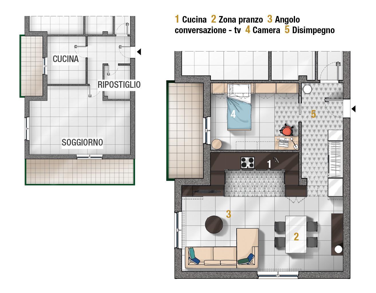 Basta un gesto per ridurre o ampliare gli spazi. Progetti 3 Modi Di Vivere La Cucina Open Space Parzialmente Aperta Separata Cose Di Casa