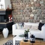 Deko Wohnzimmer Steinwand Kamin Couch