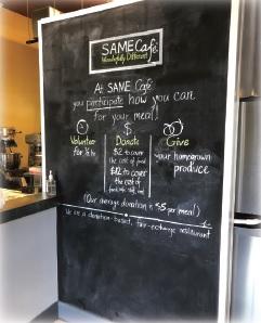 The daily menu at SAME Café in Denver.