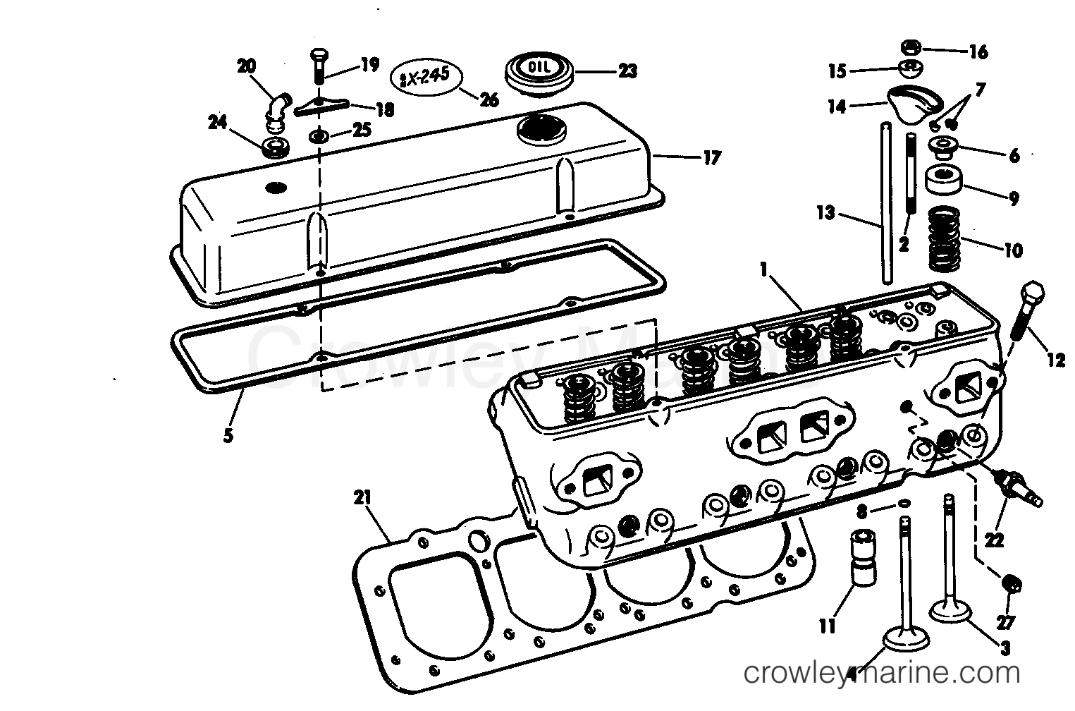 Head And Rocker Arm Group 225 Amp 245 Stern Drive 245 Jet Dr