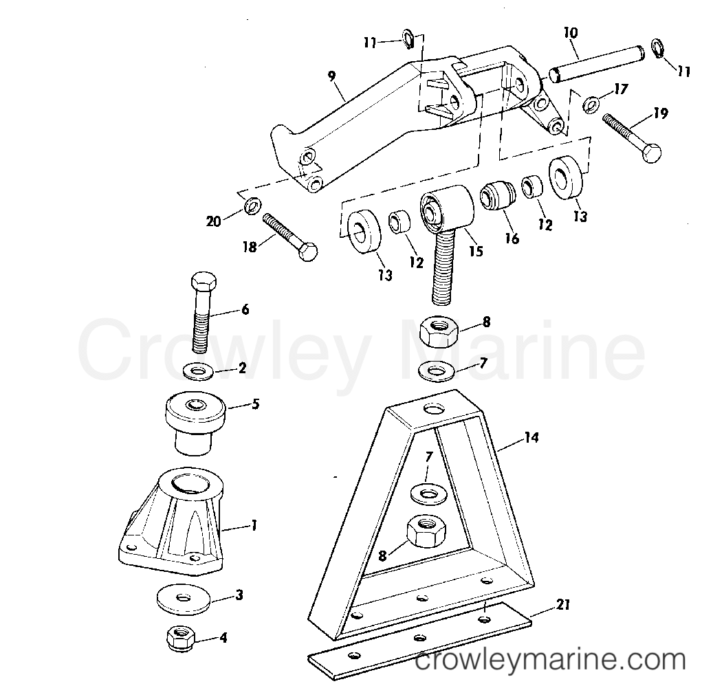 Engine section array engine mount group 165 hp w manual trim r2 suffix models 1975 rh crowleymarine