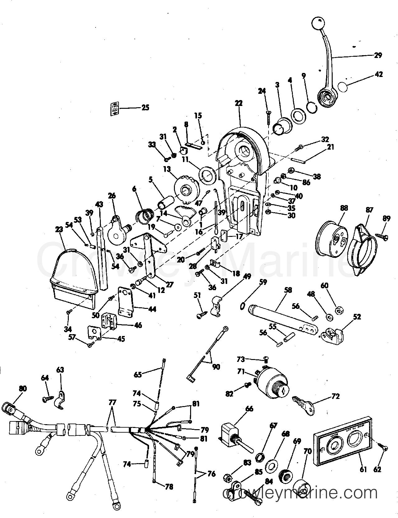 Binnacle Mount Control And Wiring Kit 55