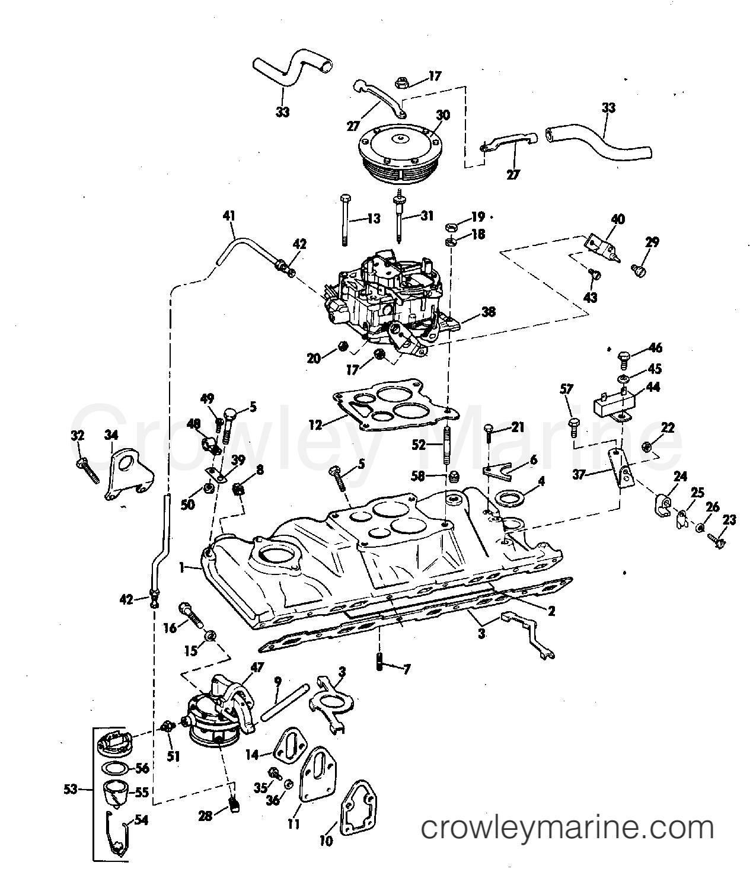 Intake Manifold Fuel Pump And Carburetor Lines 225 Amp 245