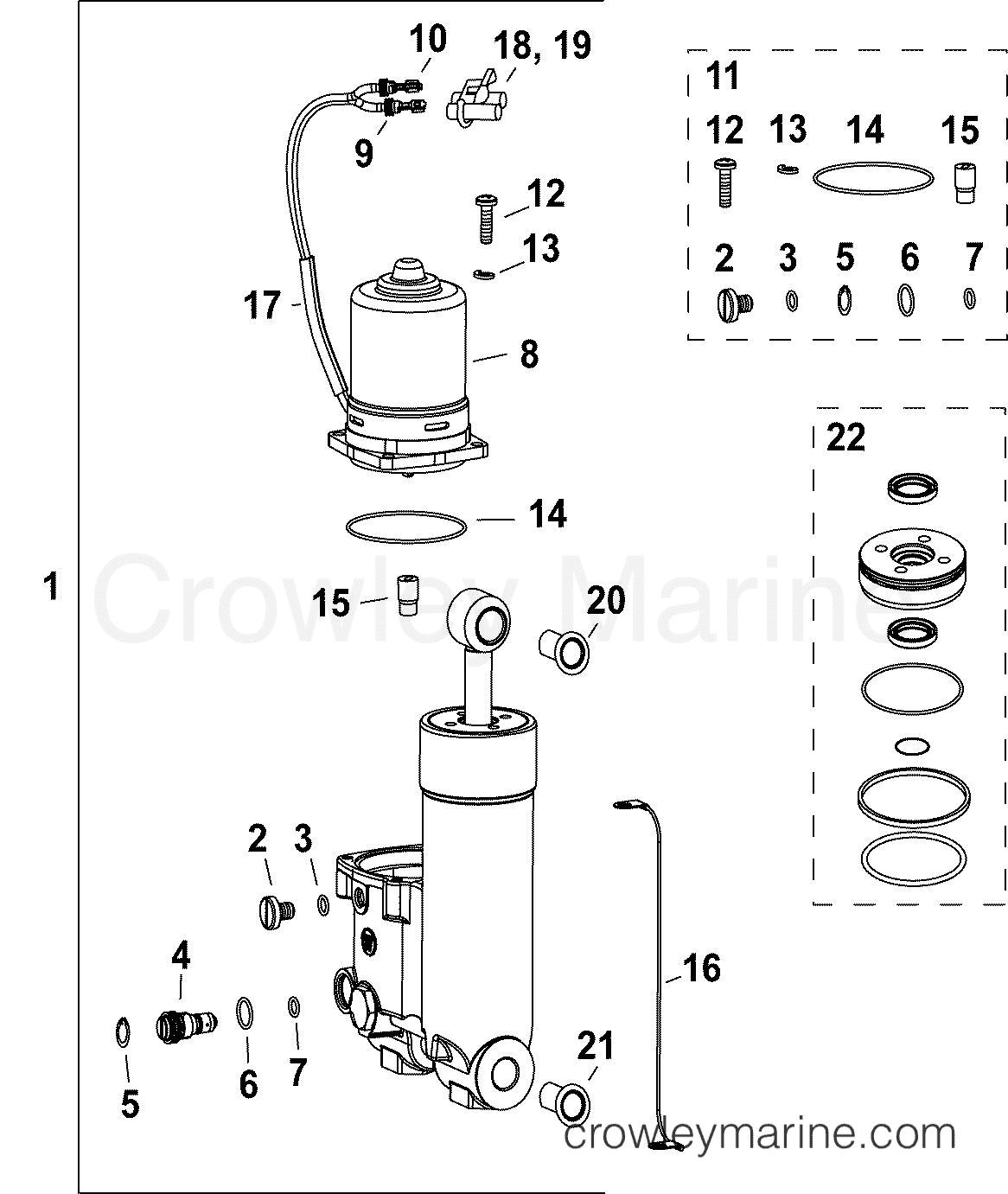 Trim Amp Tilt Hydraulic Assembly