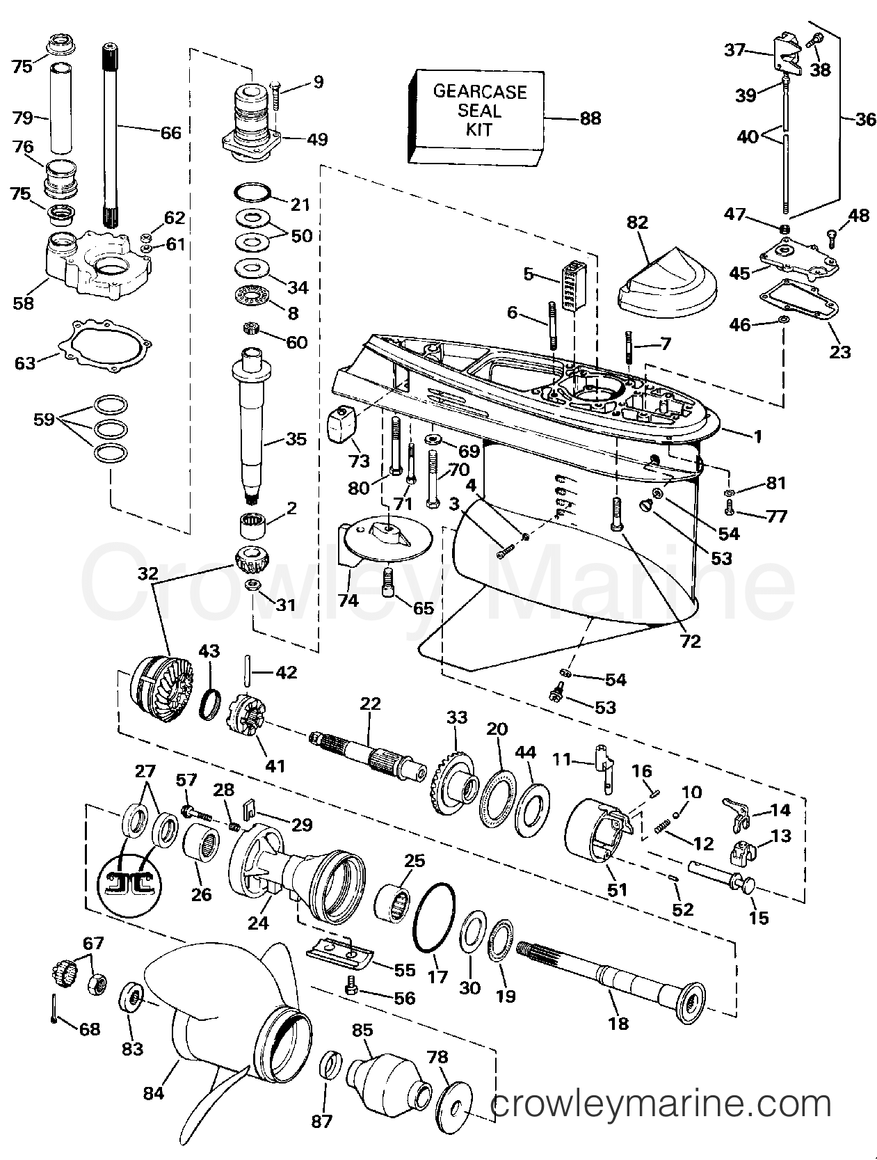 Lower Gearcase Counter L H Rotation