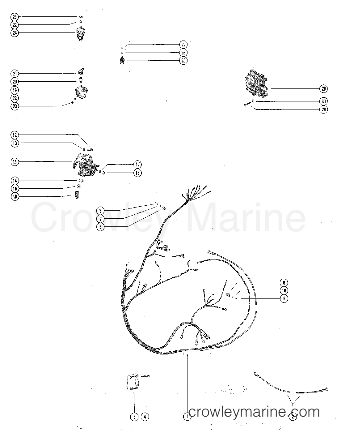 Wiring harness voltage regulator and starter solenoid serial rh crowleymarine