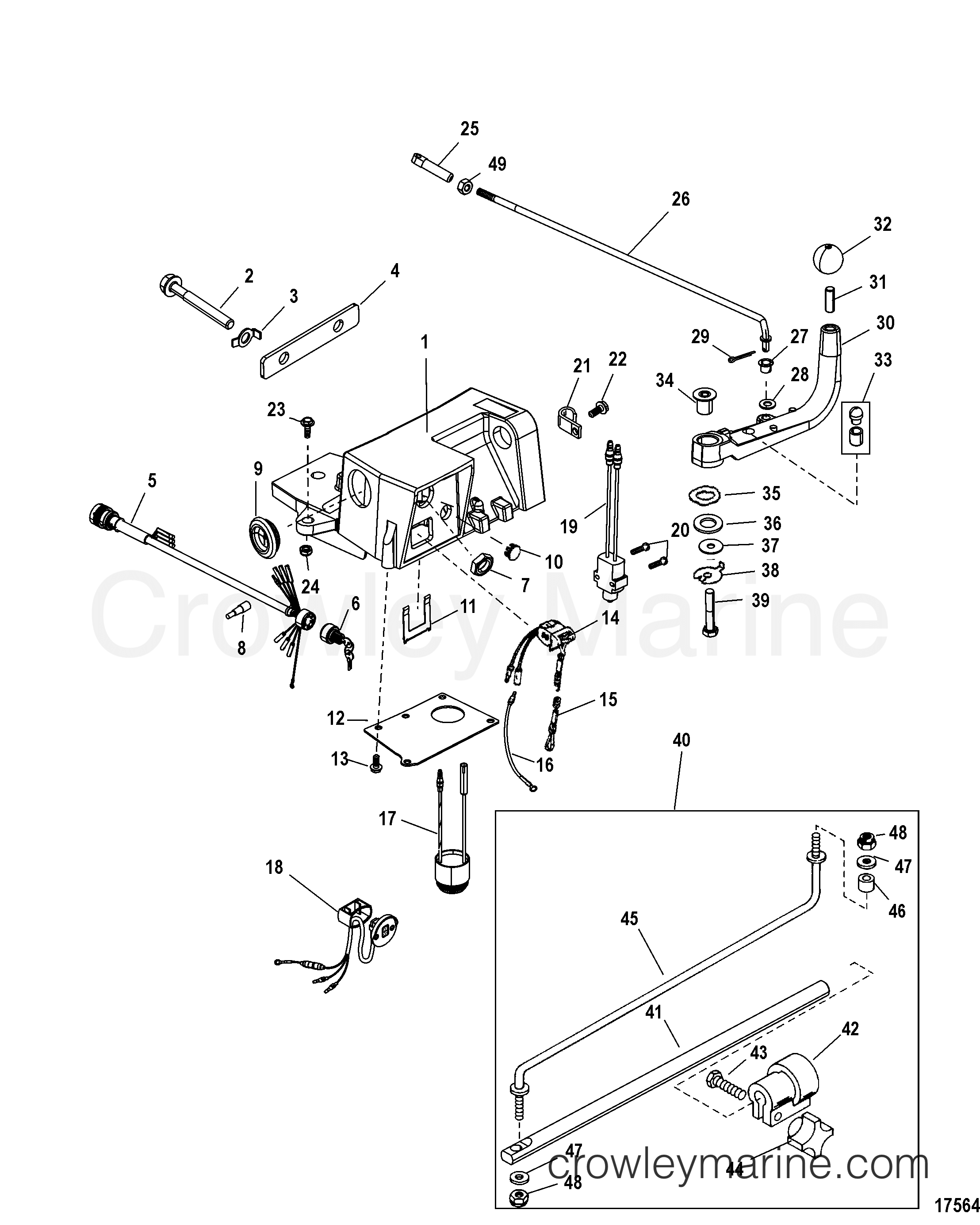 Steering Handle Kit Components 75 90 115 Fourstroke