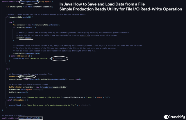 In Java How to Save and Load Data from a File - Simple Production