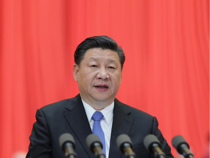 Chinese President Xi Jinping, also general secretary of the Communist Party of China Central Committee and chairman of the Central Military Commission, addresses the opening of the 19th Meeting of the Academicians of the Chinese Academy of Sciences and the 14th Meeting of the Academicians of the Chinese Academy of Engineering, in Beijing, China, May 28, 2018.