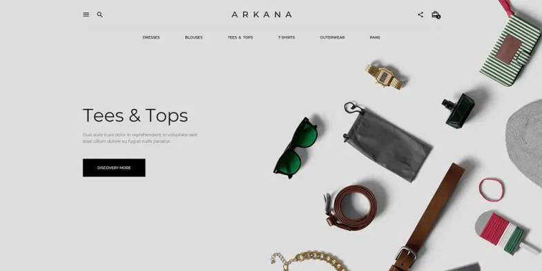 Arkana Ecommerce Web Template PSD
