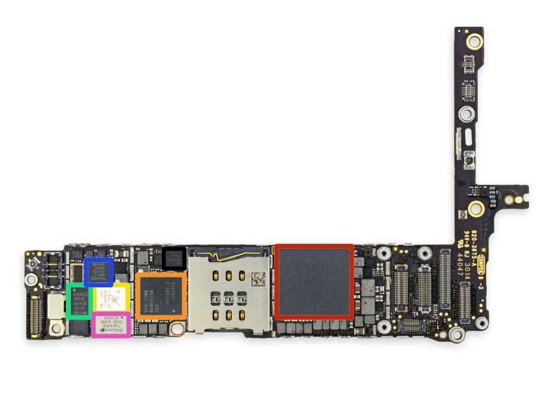 Here's why the iPhone 6 can do with less RAM (outlined in red) than Android phones. Photo: iFixIt