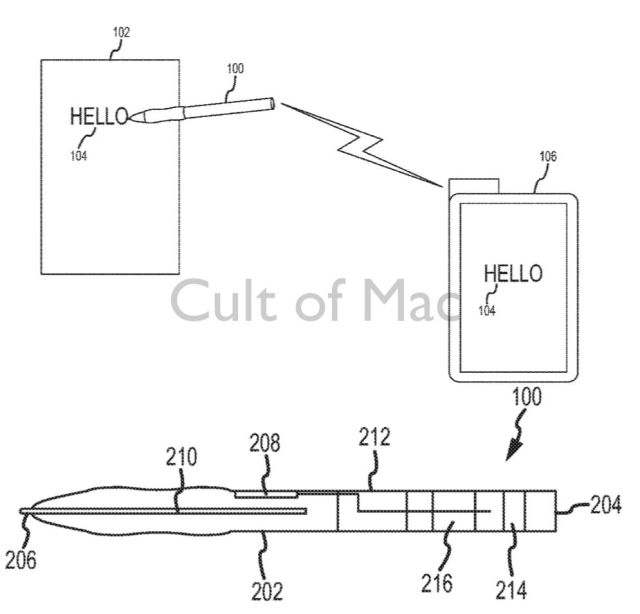 It's not a design patent, but this drawing from Apple shows how the stylus could work.