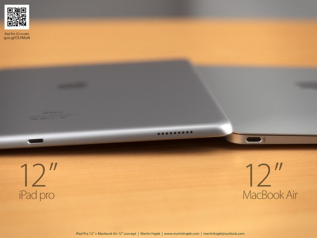 Sexy new renders show the iPad Pro and 12-inch MacBook Air side-by-side