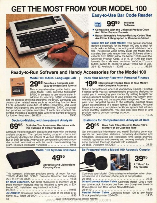 A Radio Shack catalog page from 1984 shows various accessories for the Model 100, including phone couplers in the lower right corner. Photo: radioshackcatalogs.com