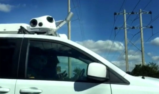 What are the LIDAR units doing on this Apple van? Photo: AppleInsider video