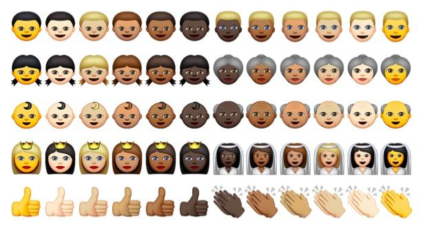 Some of the new racially diverse emoji.