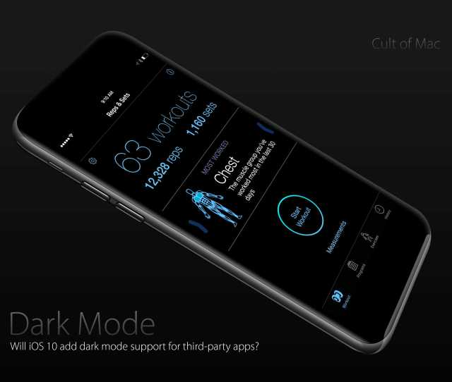 Ios 10s New Dark Mode On An Oled Display Could Make The Screen Seamlessly Blend With