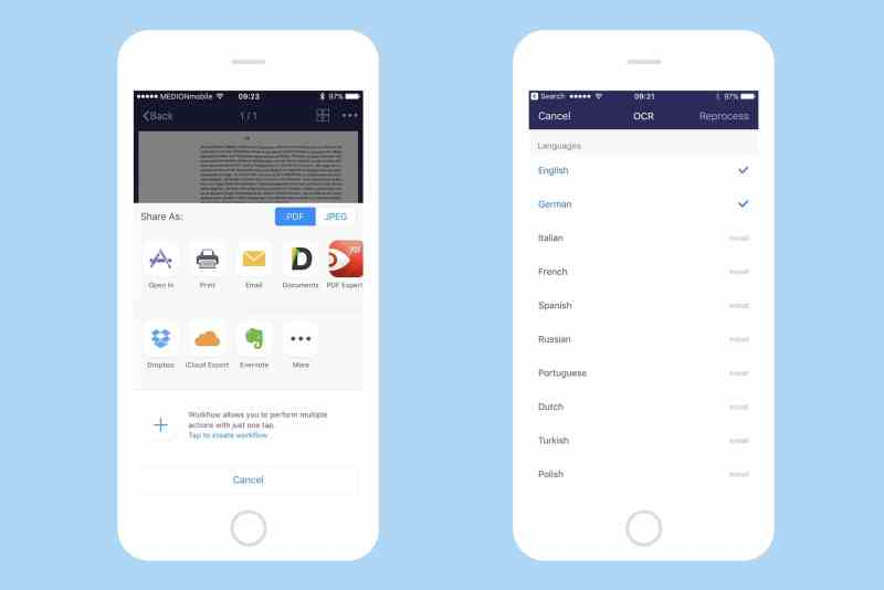 Sharing is easy, and text recognition can manage most languages.