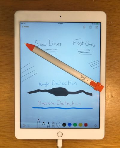 The Logitech Crayon offers tilt detection, but line width doesn't vary no matter how hard you press on this active pen.