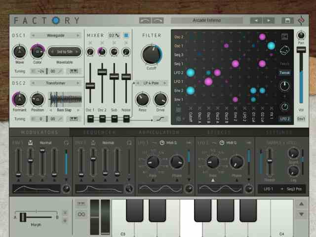 You can flip through presets, or design sounds from scratch.