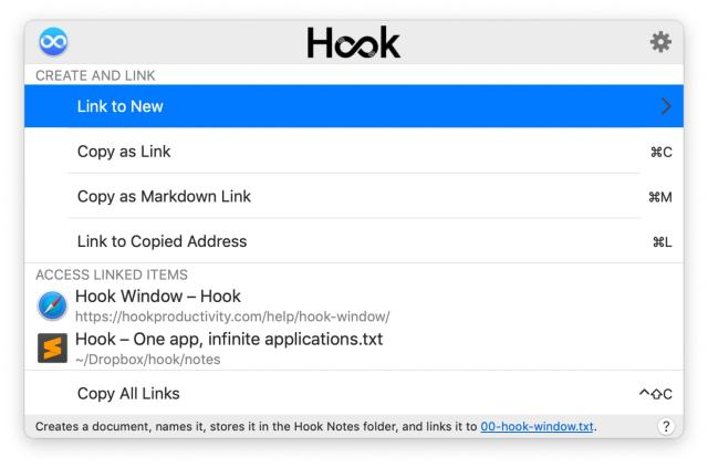 Hook's quick panel shows linked documents.