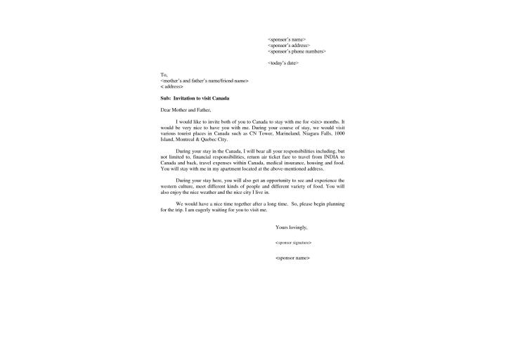 canada tourist visa invitation letter