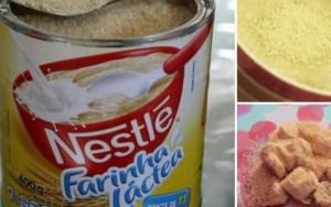 Farinha Láctea Caseira é deliciosa e perfeita para mingaus, vitaminas, frutas e receitas doces. No supermercado, ela é bem carinha, mas com essa receita você terá uma farinha láctea igualzinha