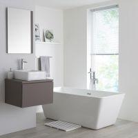 Newington   Quadratisches 360x360mm Aufsatzwaschbecken mit Unterschrank 600mm   Mattgrau
