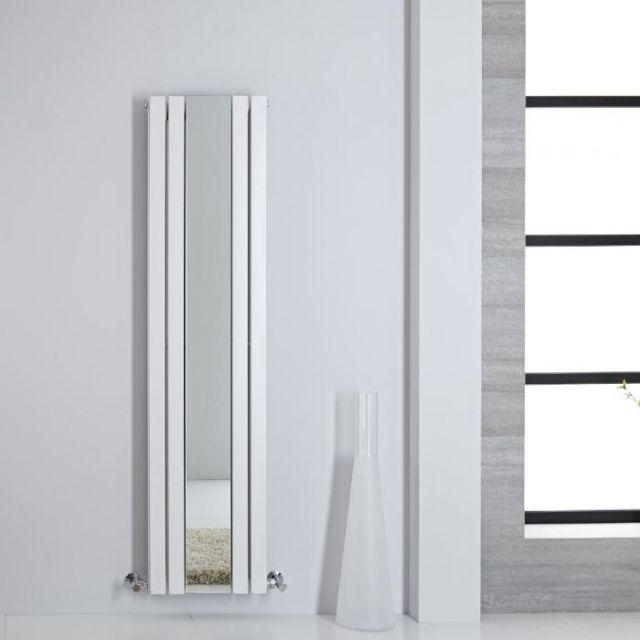 Design Heizkörper mit Spiegel Vertikal Weiß 1600mm x 385mm ...