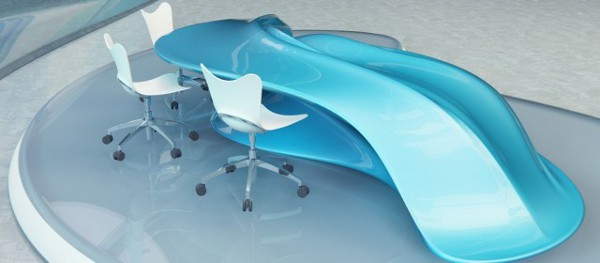 Flowing Design Table Perfect For A Modern TV Studio