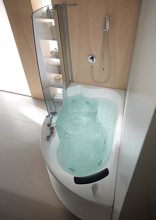 Teuco Corner Whirlpool Shower Integrates Shower With Bathtub on Modern:kkgewzoz5M4= Small Bathroom  id=18997