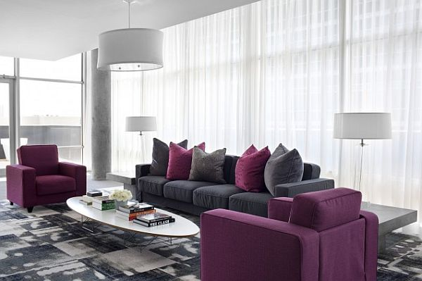 Stay cool with dark greys · 5. modern grey and purple dining area with white coffee table