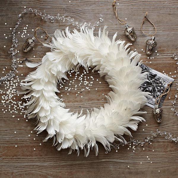 Bird Themed Home Decor DIY White Feather Wreath Pinecones Glitter Winter Door Wreath