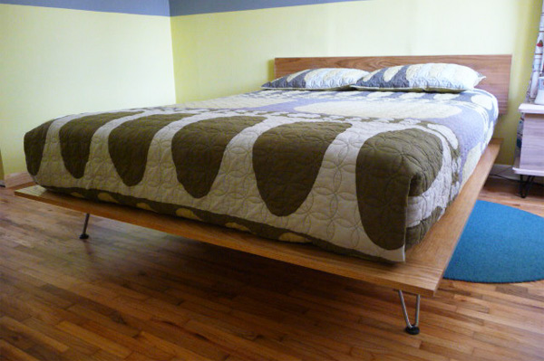 DIY traditional platform bed with hairpin legs