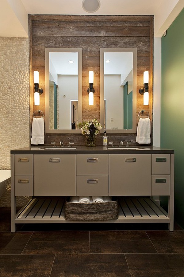 custom vanity with lamps on reclaimed wood wall