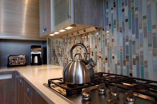 Mood Lighting in the Kitchen Mosaic Backsplash Tea Kettle Track Lights Under Cabinets
