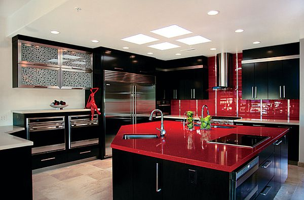 Red Kitchen Design Ideas, Pictures and Inspiration on Modern:0Bjn4Cem9Be= Kitchen Counter  id=57272