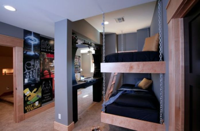 Bunk beds for the kids bedroom with a suspended twist!