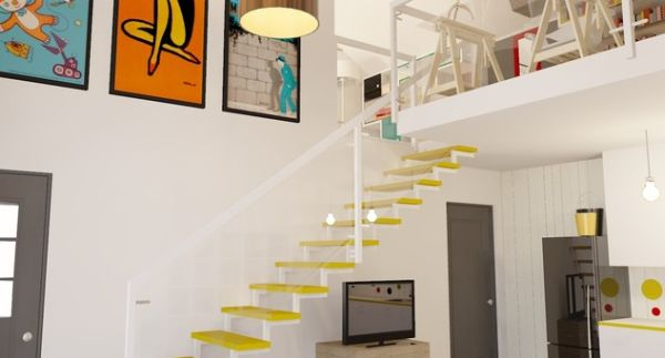 Colorful floating stairs for a vivid look