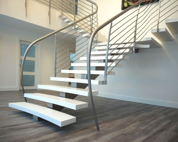 Unique handrail design adds further charm to this floating stairway
