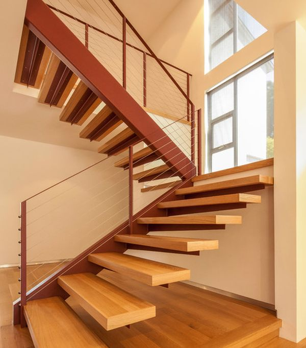 Wooden floating stairs work well within most modern homes