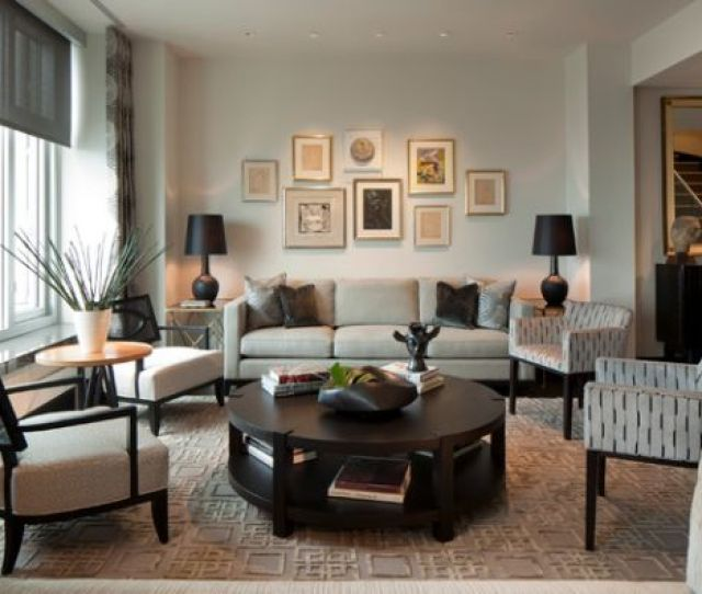 View In Gallery Table Lamps With Black Lamp Shades Lend Visual Balance To The Setting