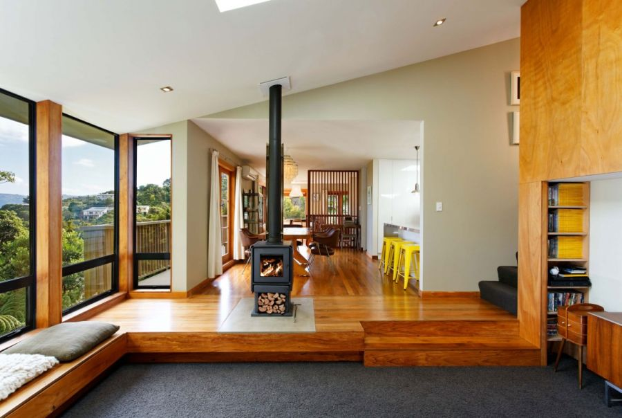 Warm Wooden Interior Accentuates A Welcoming Wellington Home