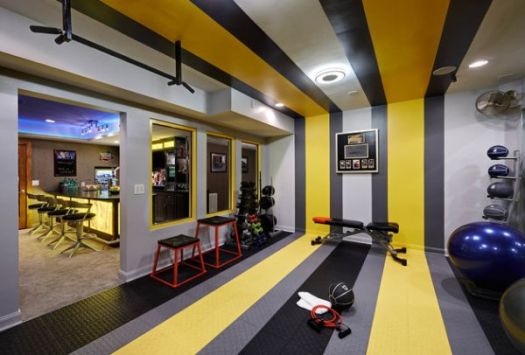 View In Gallery Bat Home Gym And Bar With Colorful Stripes