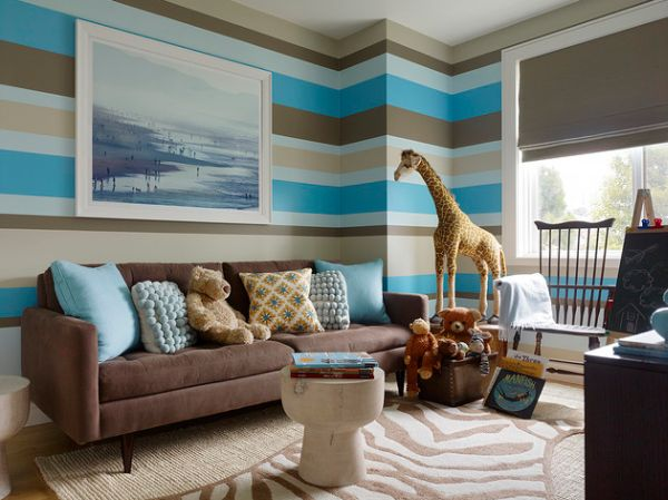 View In Gallery Blue Brown Gray Green And Tan Stripes Sure Look Amazing