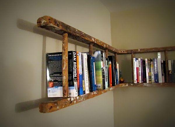 Old ladder turned bookshelf 10 DIY Inspiring Bookshelf Designs