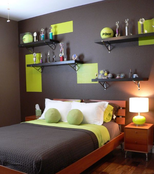 Contemporary Boys Bedroom Features An Elegant Color Scheme View In Gallery Tennis Ball Green Combined With Chocolate Makes A Dashing Palatte