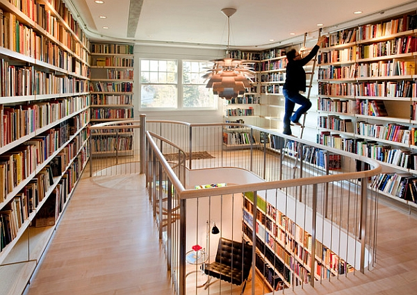 Una biblioteca hogar perfecto para los bibliófilos!