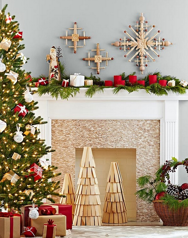 Fireplace Christmas Decorations Merry Home