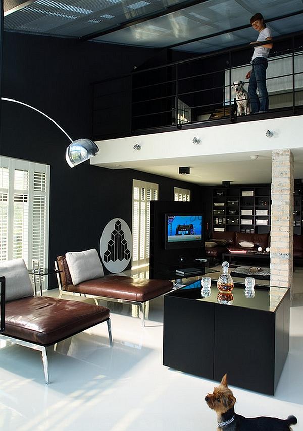 Con estilo hogar con una combinación de colores blanco y negro